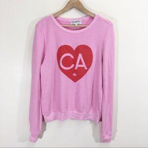 Wildfox Canada Heart Soft Fleece Sweater Pink